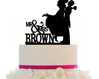 Custom Wedding Cake Topper , Couple Silhouette, Your last Name and free base for display after the event