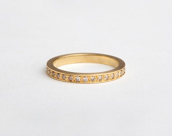 Champagne Diamonds Eternity Ring, Simple Diamonds Pave Wedding Ring, Diamond Stackable Ring Eternity Wedding Band 18k Gold