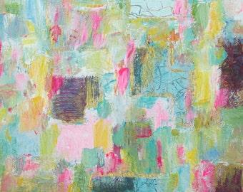Small Abstract Original Painting Acrylic Art Modern Wall Decor Aqua Green Pink Blue Contemporary Fine Art