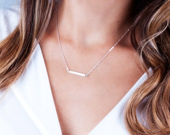 Dainty Bar Necklace, Horizontal Bar Necklace, Small Bar Necklace, Layering Necklace, Minimal Necklace, Bar Pendant, Gold, Silver, Rose Gold