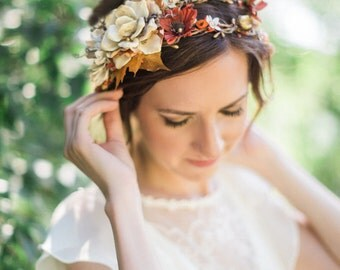 fall wedding headpiece, fall flower crown, rustic headband, autumn bridal hair accessory, burnt orange, rustic wedding, gold flower crown