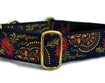 Martingale Dog Collar or Buckle Dog Collar - EXCLUSIVE DESIGN - Flower Burst Jacquard in Navy Blue - 1.5 Inch