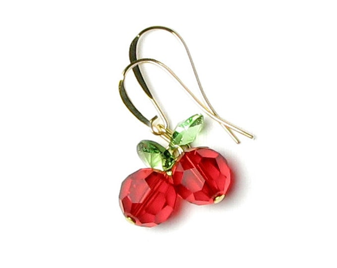 Red Apple Earrings Light Siam Round Swarovski Crystals With Gold Ear Wire Fall Leaf Jewelry Autumn Fruit Leaves Food Gift For School Teacher