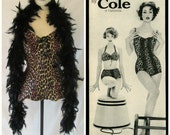 Vintage '50s Cole Swimsuit Leopard Animal Print One-piece Tank Lace-up Boyshorts Cotton Swimwear Pin-Up Bathing Suit Size XS 0 2 3 4