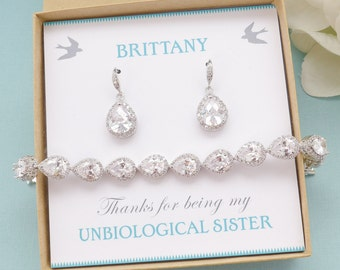 Bridesmaid Gifts, Bridesmaid Jewelry, Personalized Bridesmaid Gift, Bridesmaid Earrings and Necklace Bracelet Set, Mother of Bride Gift