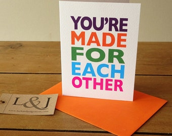 Newly engaged card, just engaged card, made for each other congratulations card, you're engaged engagement card, congrats cards for friend