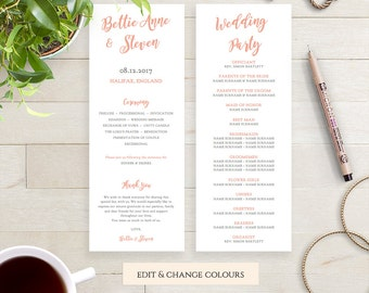 Printable Wedding Program Template DIY, long thin program order of service printable, Bettie, any colour | DIY Editable printable template