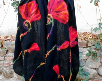 Poppy Scarf, Long Felted Scarf, Black And Red Large Handmade With Felt Embroidery, Oversized  Scarf, Gift For Her