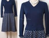 Mod Dress, 60s Dress, Mad Men Dress, Vintage Blue Dress, Blue Polka Dot Dress, Vintage Polka Dot Dress - M/L