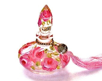 Painted Glass Perfume Bottle FREE SHIPPING Romantic Rose Cottage Chic Victorian Decor
