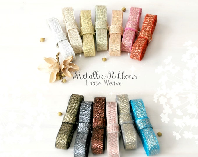 Featured listing image: Metallic Ribbon With Cotton Fibers - 3 Yards - Loose Weave Ribbon - DIY Weddings - Metallic Ribbons - Wedding Ribbons - Metallic Ribbons