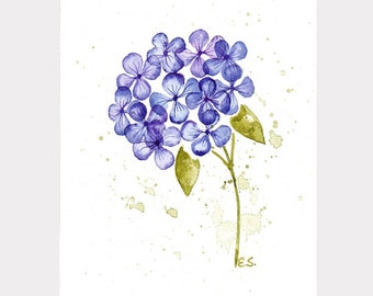 Flower watercolor Hydrangea Original watercolor painting wall art Floral spring home decor Botanical design Blue purple and green