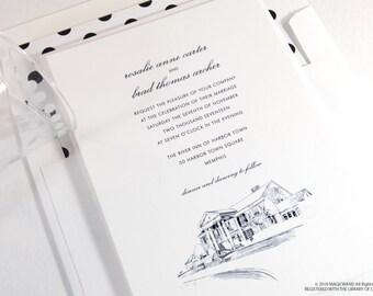 Graceland  Wedding Invitations, Nashville Tennessee Wedding, Elvis House, Mansion (Sold in Sets of 10 Invitations, RSVP Cards + Envelopes)