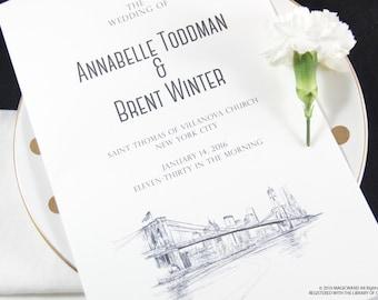 New York Skyline Wedding Programs (set of 25 cards)