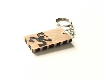 Taino Frog Wooden Keychain Wood Burned Coqui Taino Rustic Keychain