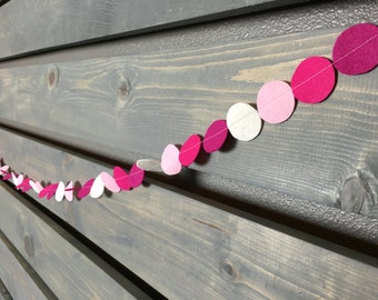 Valentine Felt Garland || Circle Garland || Pink & Gold || Gold Glitter Banner || Valentine Party Decoration