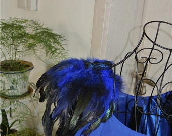Handmade royal blue feather epaulette pad Carnival feather shoulder shawl cape burning man festival epaulettes