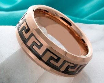 Tungsten Wedding Ring Rose Gold Greek Key Carbon Fiber Inlay 8mm Tungsten Band Tungsten Anniversary Ring Rose Gold Mens Ring Promise Ring