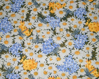 BTY White, Yellow, Lavender FLOWERS & DRAGONFLIES Print 100% Cotton Quilt Crafting Fabric by the Yard