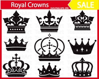 Royal crowns Digital ClipArt Cutting Files svg jpg eps png Personal Commercial Use Instant Download Monogram black iron on shirt decal 101C