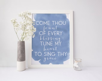 Come Thou Fount of Every Blessing Watercolor Digital Print