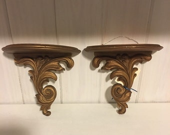 Vintage Gold Brackets / Wall Brackets / Pair of Wall Sconces