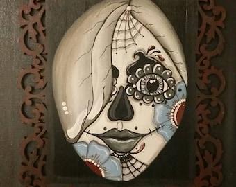 Blue Flowers, Grey Hair  Sugar Skull Painting