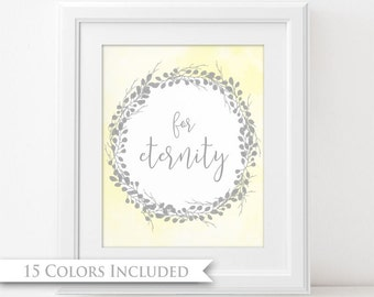 For Eternity - LDS Digital Wall Art Print PRINTABLE Typography Families Together Forever Wedding Gift Eternal Temple Marriage