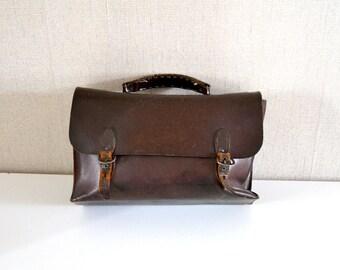 Vintage leather satchel / Leather pannier / Worker tools bag