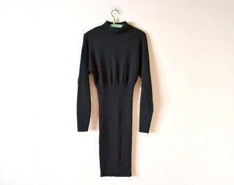 Vintage black dress 80s / jersey dress made in France / size S