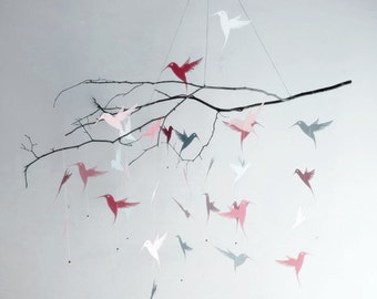 Pink Hummingbird Mobile, custom colors,nursery mobile,baby mobile,kids,hanging branch, pink and white,grey and pink