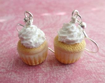 Vanilla Cupcake Earrings Miniature Food Jewelry Cupcake Jewelry Polymer Clay Cupcake