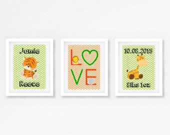 Safari Nursery Decor, Birth Announcement Wall Art, Safari Nursery Art, Jungle Nursery, Personalised Baby Gift, Birth Print, Jungle Prints