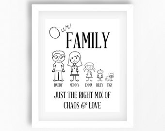 Personalised Family Art, Housewarming Gift, Custom Family Print, Gift for Parents, Family Stickman Art, Family Gift from Kids, New Home Gift