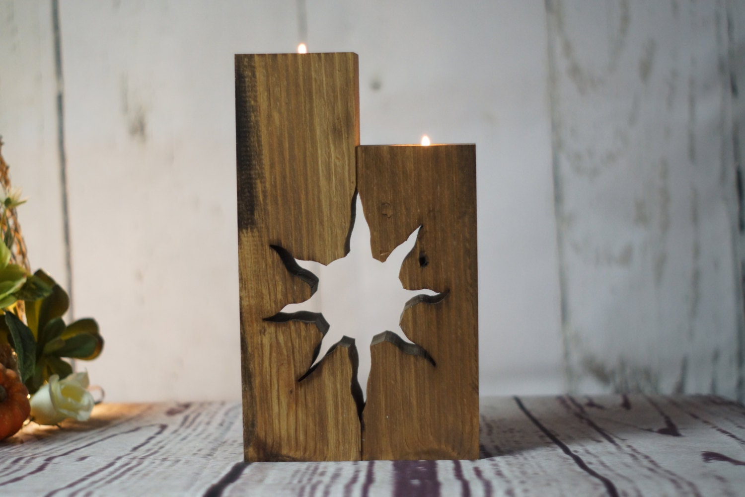 Reclaimed wood candle holder rustic tealight holder for Rustic wood candle holders