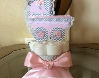Elephant mini diaper cake/Carriage  mini diaper cake/Elephant baby shower centerpiece/Girl mini diaper cake/Girl Baby shower centerpiece