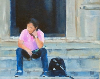 Original Small Oil Painting of Boy on Steps