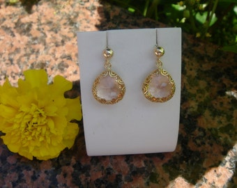Gold Earrings, gold filled, drops with Crystal glass in apricot