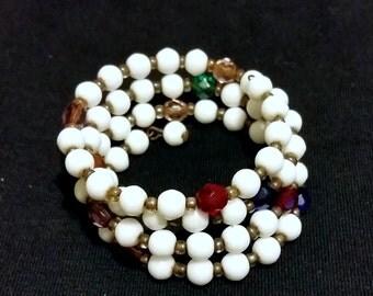 Vintage 1960s Glass Bead Wrap Bracelet