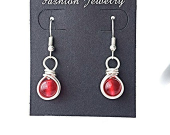 Red jade earrings, red earrings, gemstone earrings, dangle earrings, silver earrings, wire wrap earrings, wire wrapped earrings