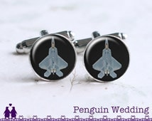 F-22 Fighter Cufflinks, Aircraft Cufflinks, Airplane Cufflinks, Air Force Gift, Mens Cufflinks, Mens Cuff Links, Wedding Gift PC131