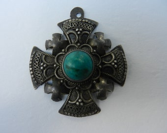Vintage 900 Silver Jerusalem Cross Pendant Super Detail