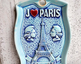 Vintage Blue Plate Eiffel Tower Wall Hanging I Love Paris France French Souvenir Marianne I heart Paris