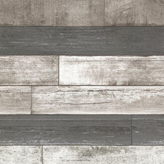 Dustin Gray Wood Planks Wallpaper Reclaimed By Dmarieinteriors