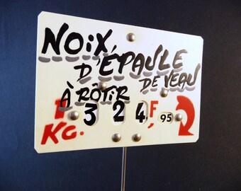 Veal roast label, Price for 1 kilo, Butcher's label, Price in francs, antique shop, 60s 70s, Butcher shop tool, meat label
