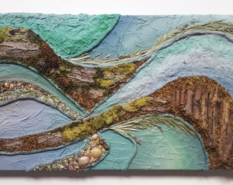 TerraScapes - Earth No.17 - Original Painting - 15in x 30in x 3in