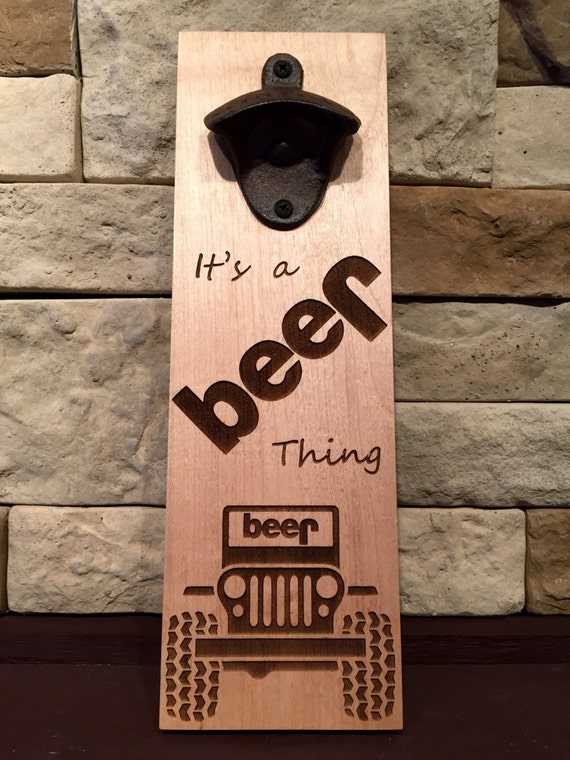 wall mounted magnetic bottle opener jeep it 39 s a beer. Black Bedroom Furniture Sets. Home Design Ideas