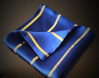 Royal Blue & Metallic Gold Pocket Square