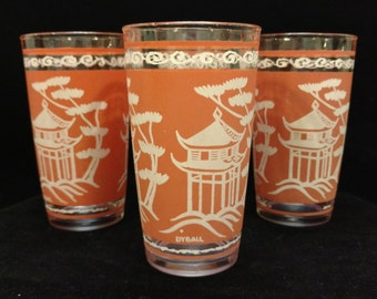 Anchor Hocking Asian Themed Drinking Glasses set of 4