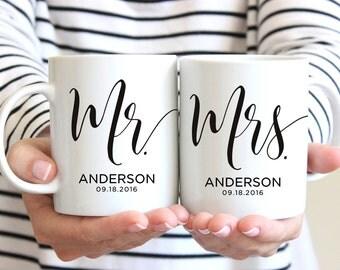Mr & Mrs Mugs, Custom Wedding Gift, Personalized Wedding Mugs, Engagement Gift, Bride and Groom Mugs, Anniversary Gift